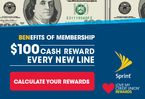 As a benefit of your credit union membership, get a 100 dollars cash reward with every new sprint line